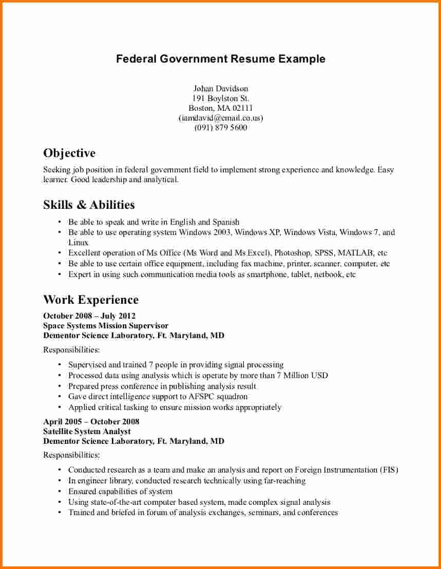 Resume Template for Office Job Elegant 6 Federal Job Resume Sample