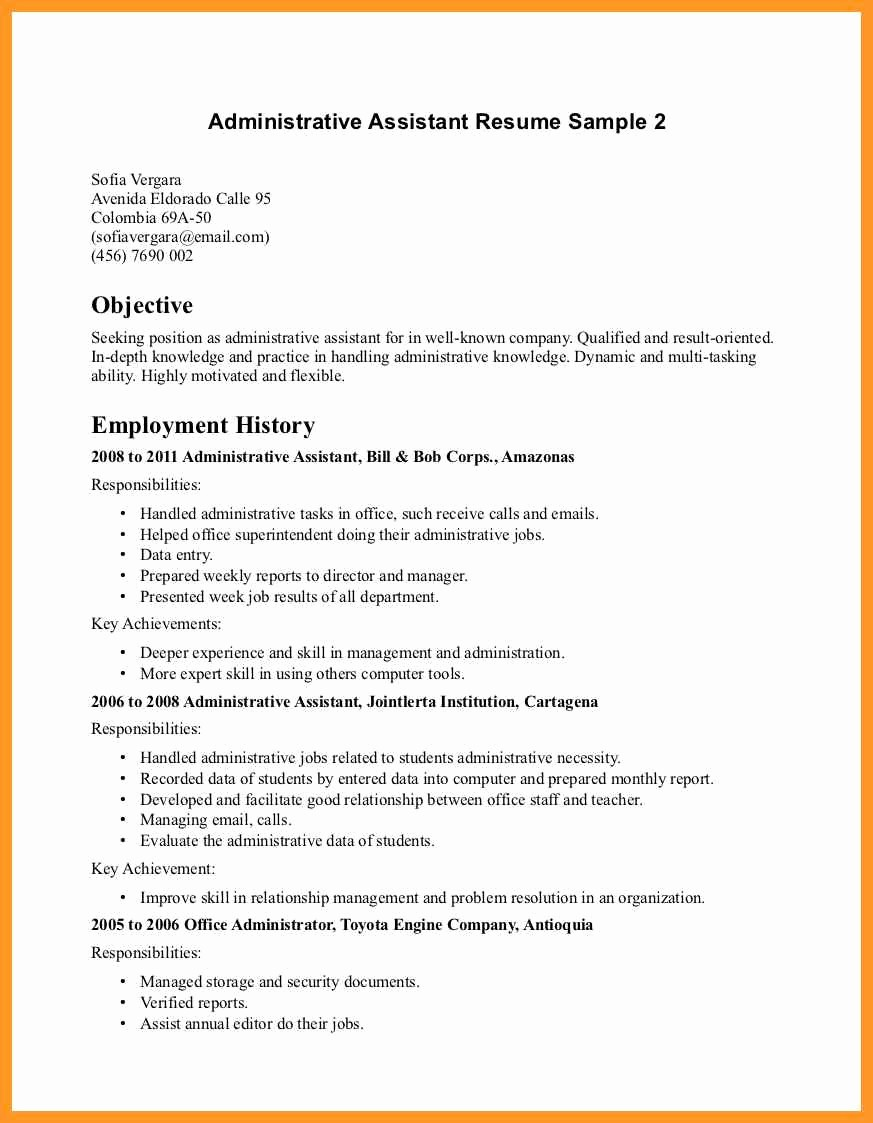 Resume Template for Office Job Elegant Office assistant Resume Description