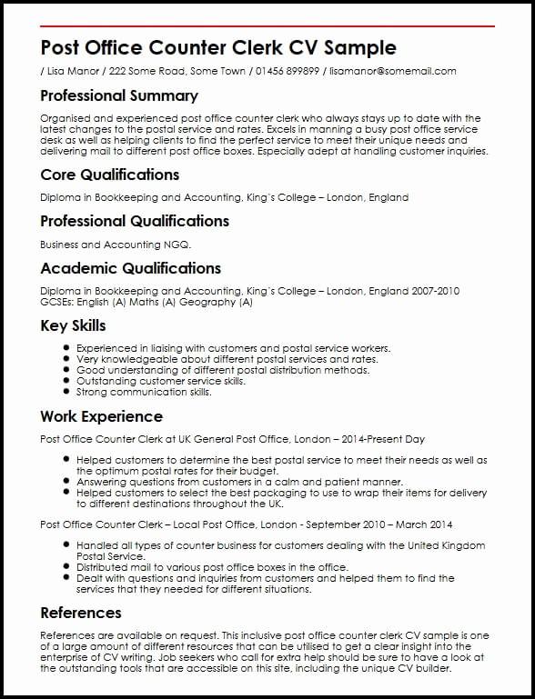 Resume Template for Office Job Elegant Post Fice Counter Clerk Cv Sample