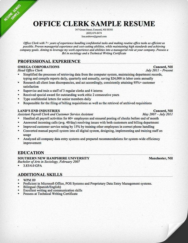 Resume Template for Office Job Fresh Fice Clerk Resume Sample Resumes