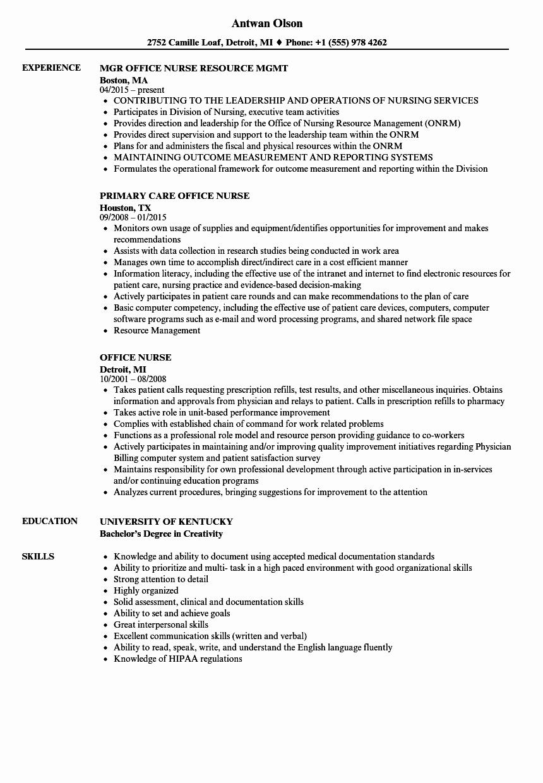 Resume Template for Office Job Fresh Fice Nurse Resume Samples
