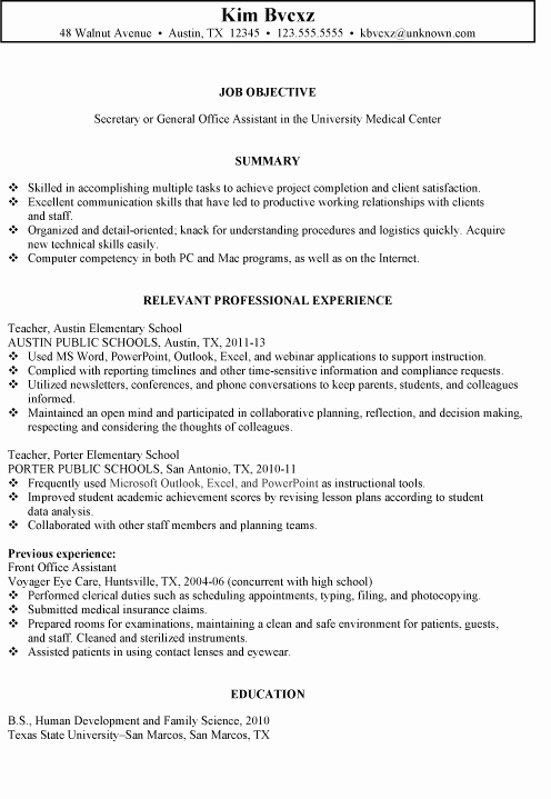 Resume Template for Office Job Inspirational Resume for A Secretary Fice assistant Susan Ireland
