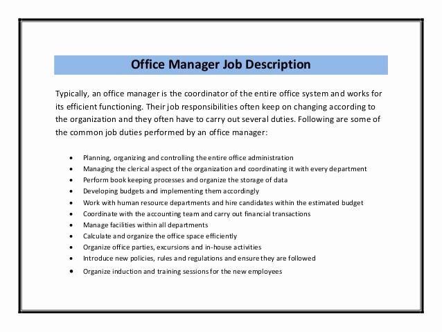 Resume Template for Office Job Lovely Fice Manager Sample Job Description