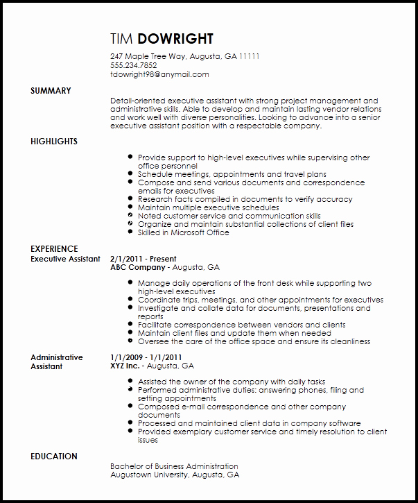 Resume Template for Office Job Lovely Free Professional Executive assistant Resume Template