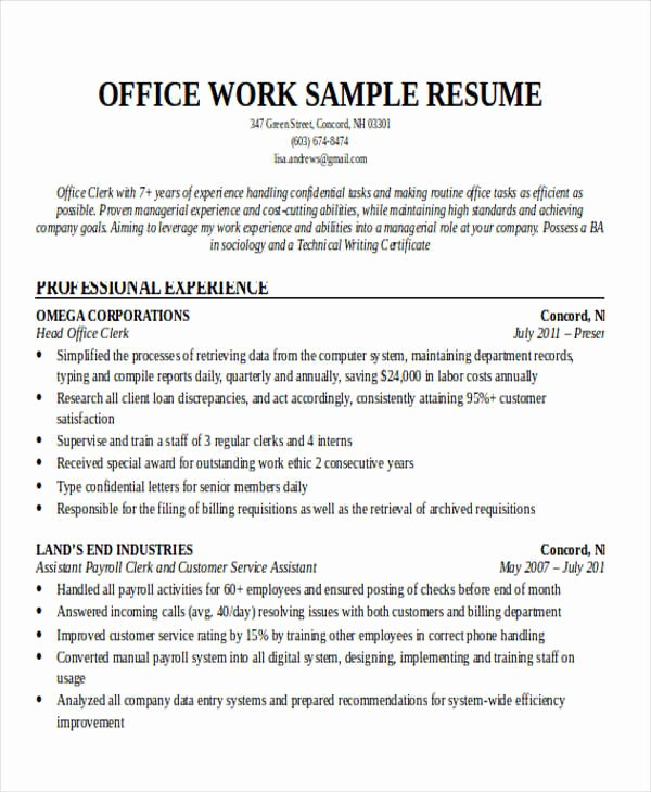Resume Template for Office Job Luxury 20 Printable Work Resume Templates Pdf Doc