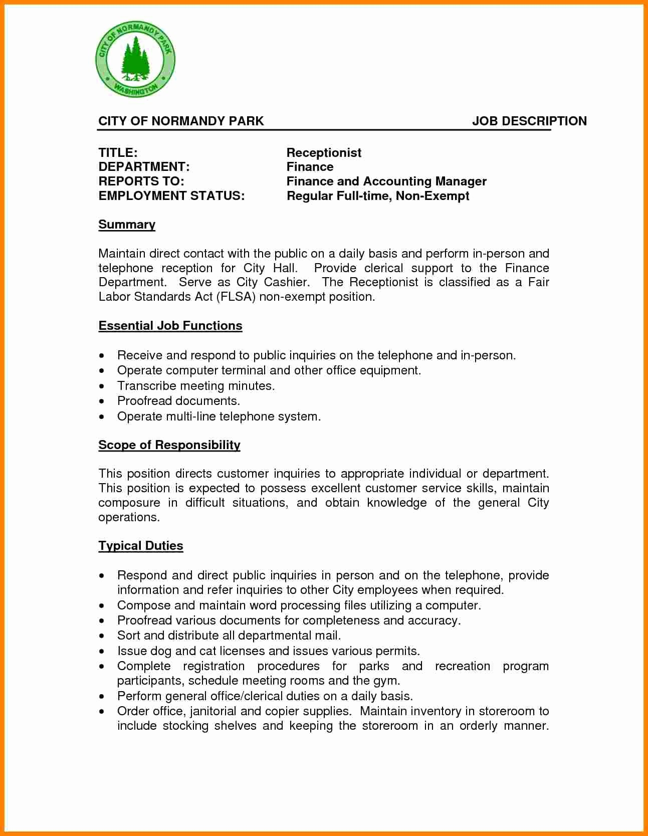 Resume Template for Office Job New 8 Medical Receptionist Job Description
