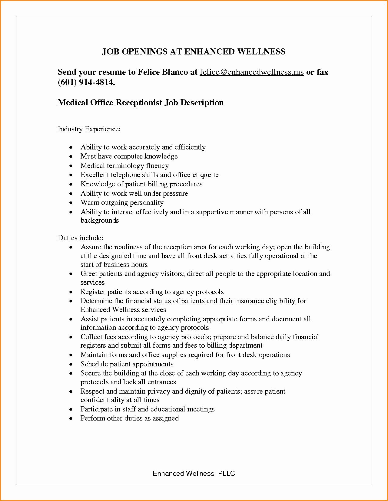 Resume Template for Office Job Unique 6 Front Desk Receptionist Job Description