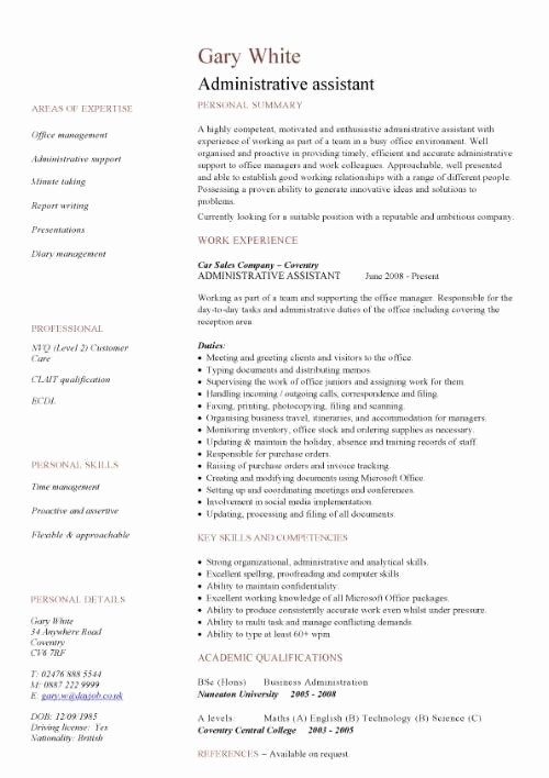 Resume Template for Office Job Unique Administrative assistant Cv Sample Planning and