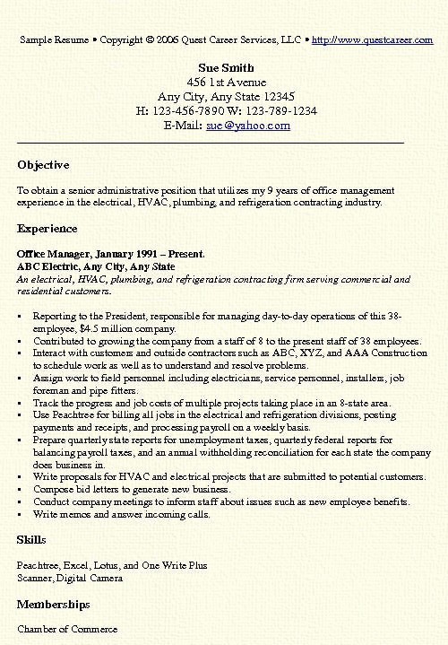 Resume Template for Office Job Unique Construction Fice Manager Resume Sample Templates