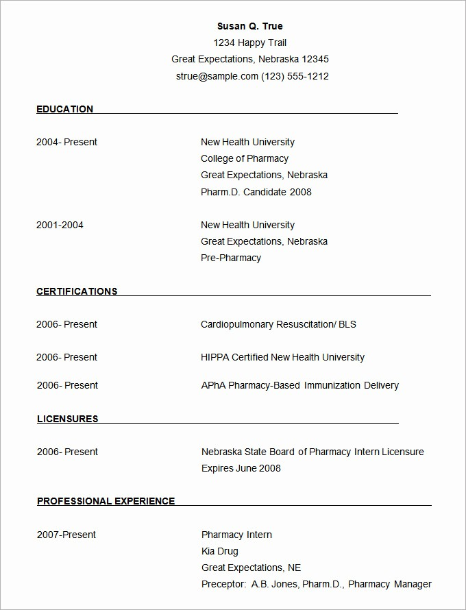 Resume Template Free Download Word New Microsoft Word Resume Template 49 Free Samples