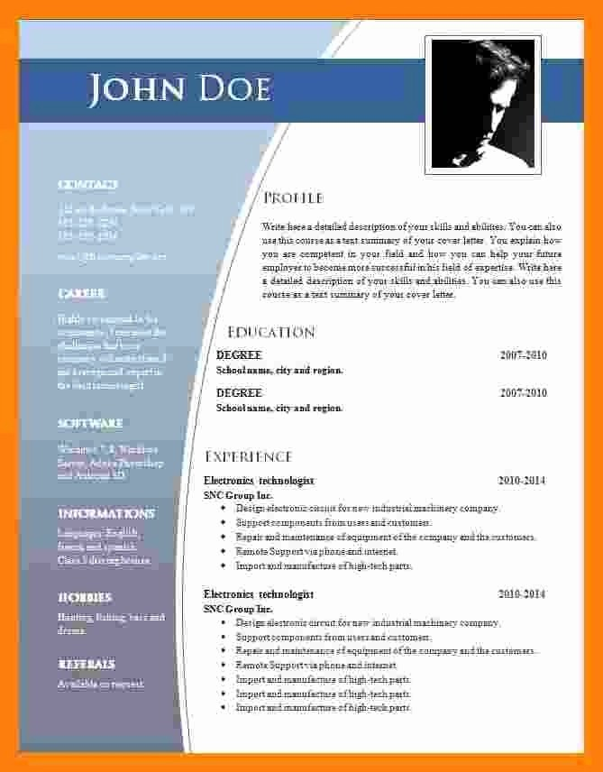 Resume Template Microsoft Word 2007 Best Of 9 Cv format Ms Word 2007
