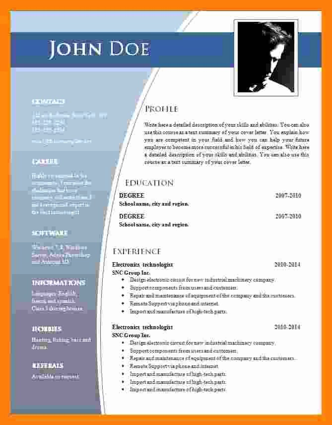 Resume Template Microsoft Word 2007 New 9 Cv format Ms Word 2007