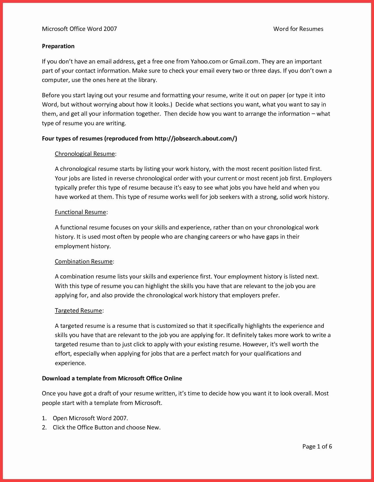 Resume Template Microsoft Word 2007 New Skills Resume Template Word