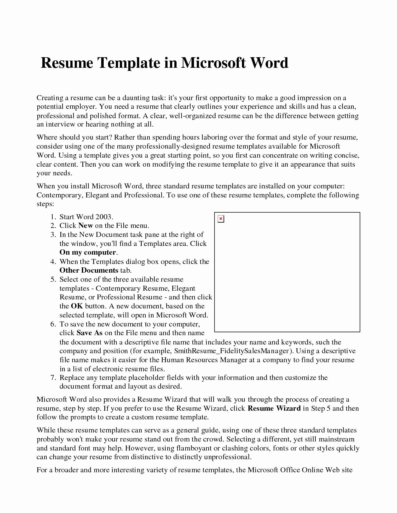 Resume Template Microsoft Word 2007 Unique Great Microsoft Word 2007 Resume Template