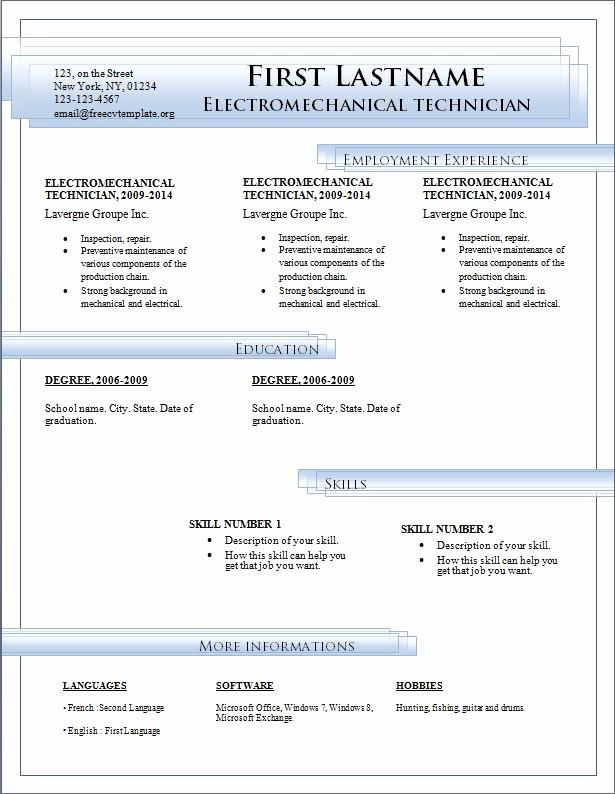Resume Template Microsoft Word Download Fresh Resume Templates Free Download for Microsoft Word