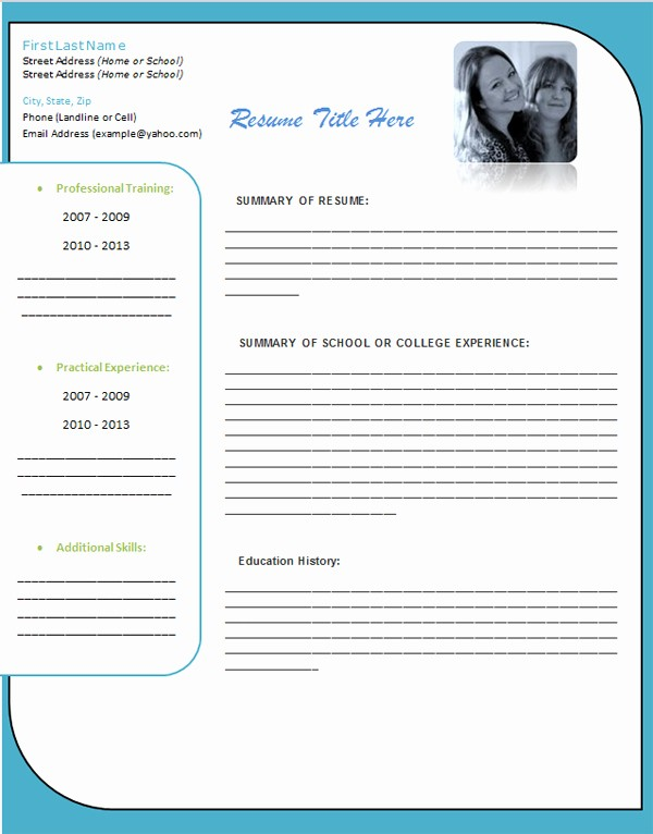 Resume Template Ms Word 2007 Beautiful Student Resume Template Album Gallery Word Free