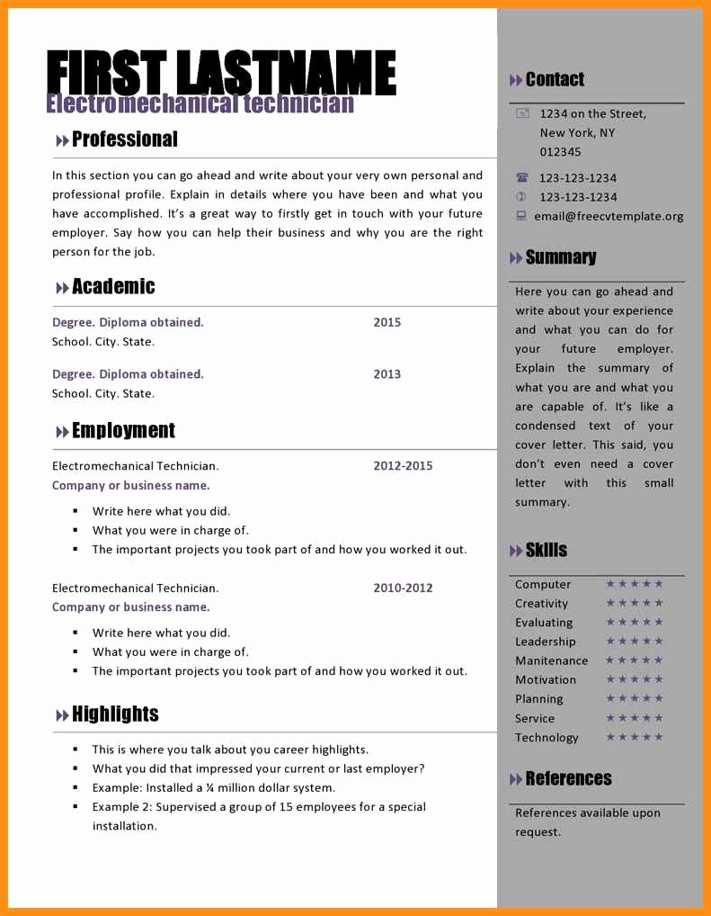 Resume Template Ms Word 2007 Lovely 8 Free Cv Template Microsoft Word