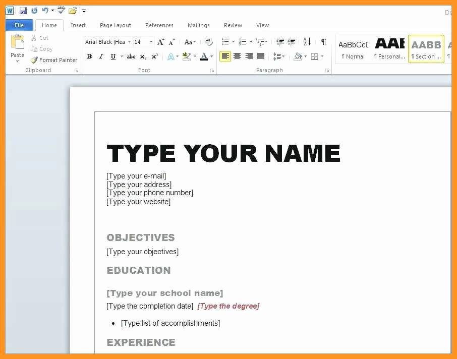 Resume Template Ms Word 2010 Unique 4 5 Resume Template In Microsoft Word 2010
