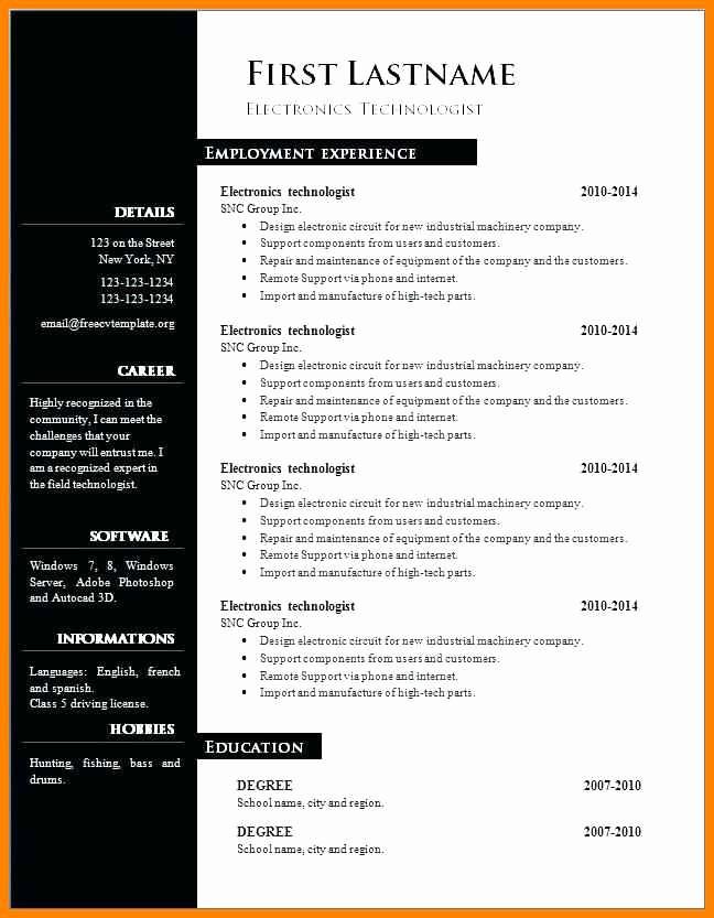 Resume Template On Word 2007 Luxury 13 Cv Template Word 2007 Free