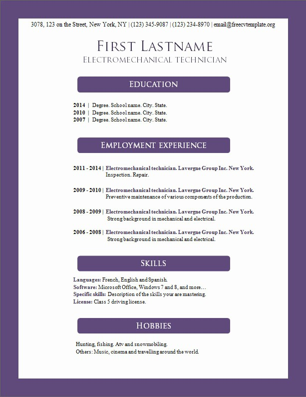 Resume Templates Download Microsoft Word Elegant Free Cv Templates 156 to 162 – Free Cv Template Dot org