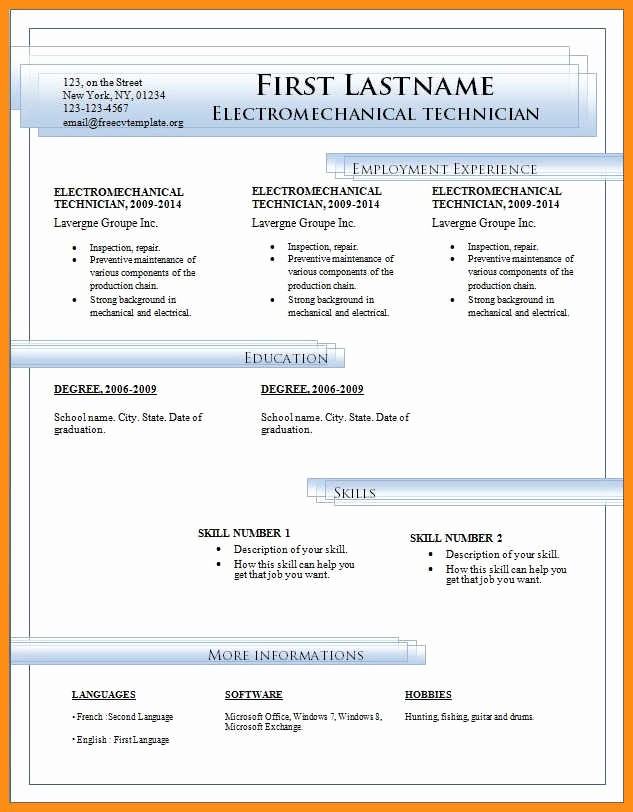 Resume Templates Download Microsoft Word Fresh 8 Free Cv Template Microsoft Word