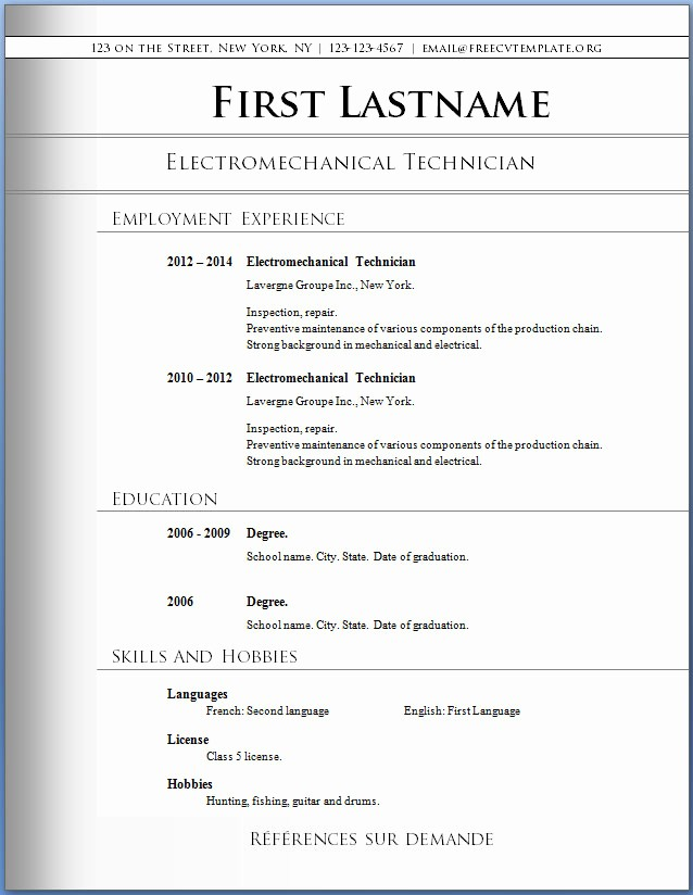 Resume Templates for Word Free Awesome Free Word Resume Templates