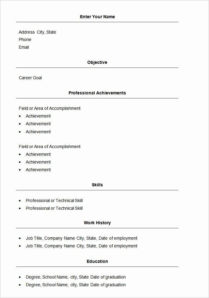 Resume Templates for Word Free Elegant 70 Basic Resume Templates Pdf Doc Psd