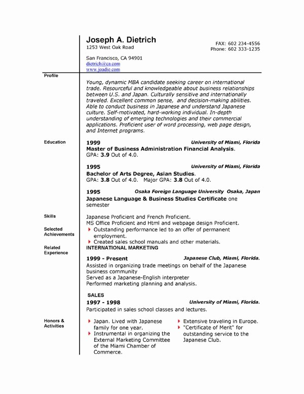 Resume Templates for Word Free Elegant 85 Free Resume Templates