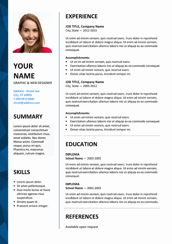 Resume Templates for Word Free Inspirational Dalston Free Resume Template Microsoft Word Blue Layout
