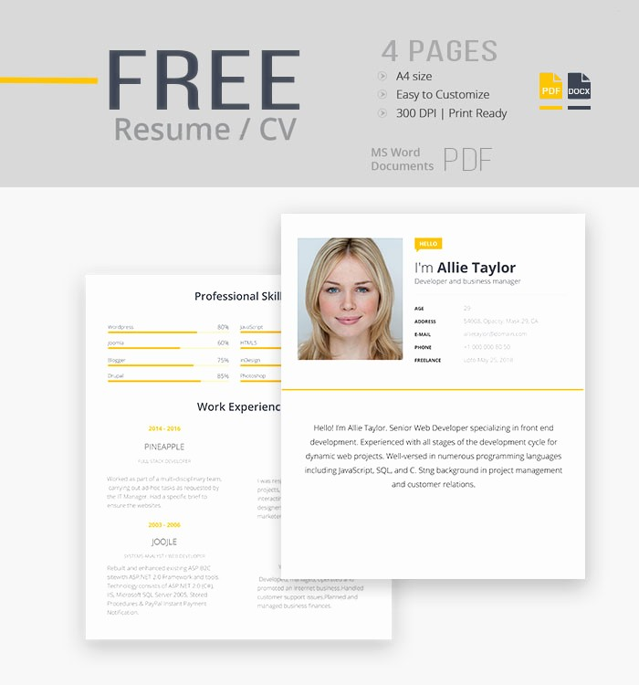 Resume Templates for Word Free Lovely 30 Best Free Resume Templates In Psd Ai Word Docx