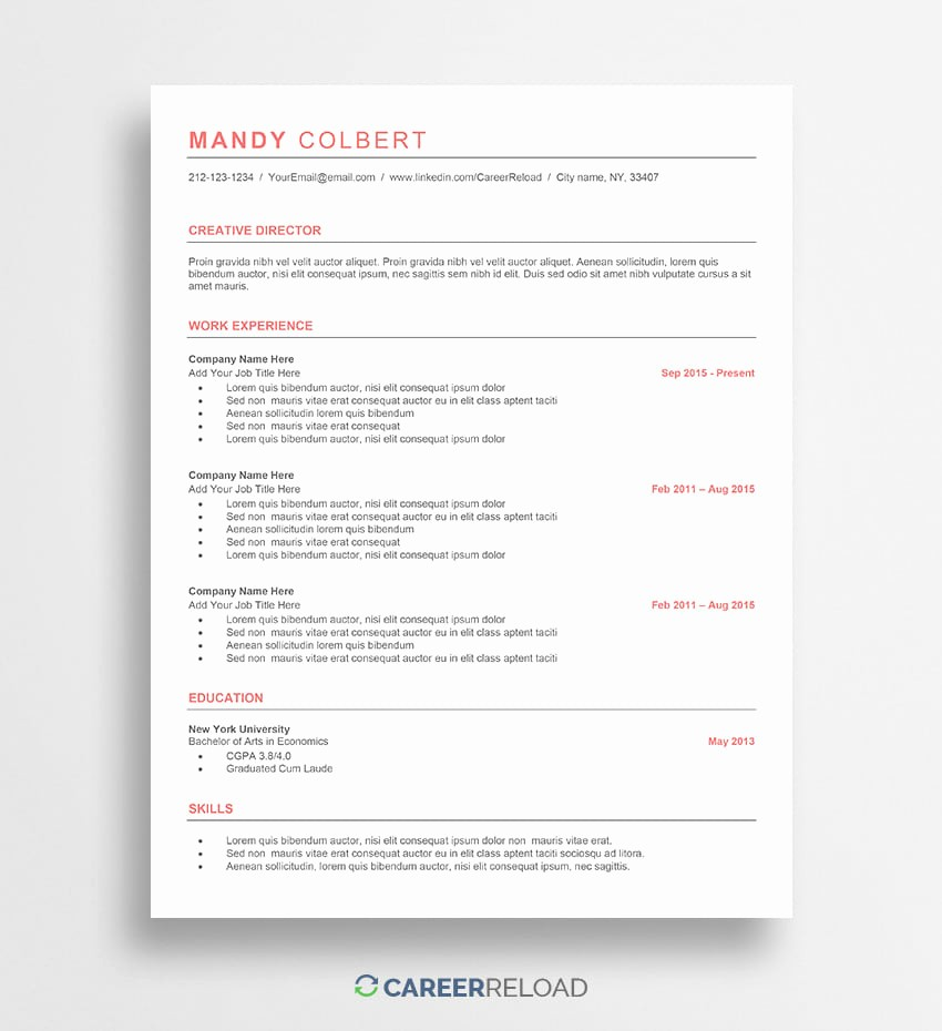Resume Templates for Word Free Lovely Free Word Resume Templates Free Microsoft Word Cv Templates