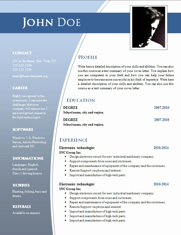 Resume Templates for Word Free Unique Cv Templates for Word Doc 632 – 638 – Free Cv Template