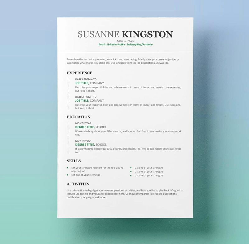 Resume Templates Free Microsoft Word Beautiful Free Resume Templates for Word 15 Cv Resume formats to