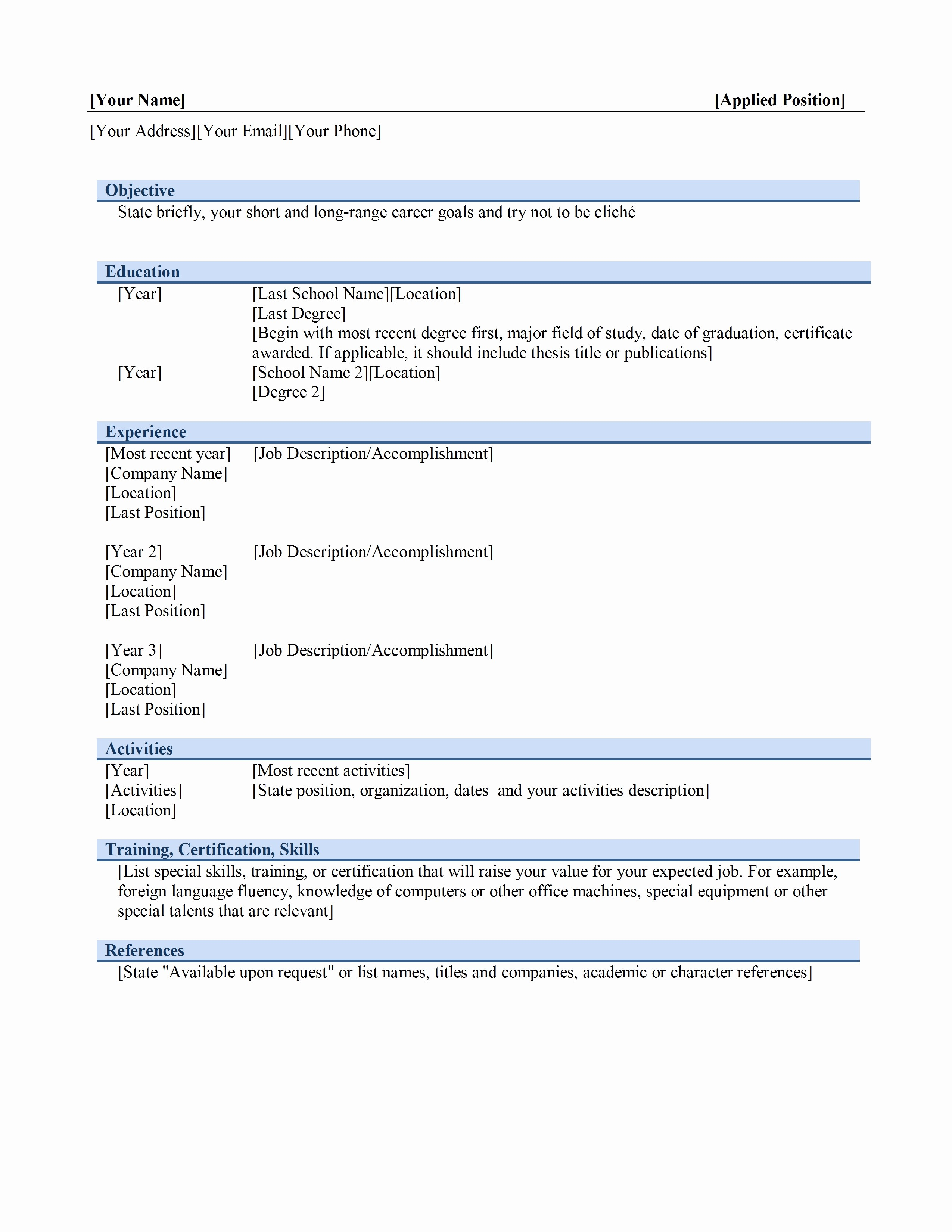 Resume Templates Free Microsoft Word Luxury Chronological Resume Template
