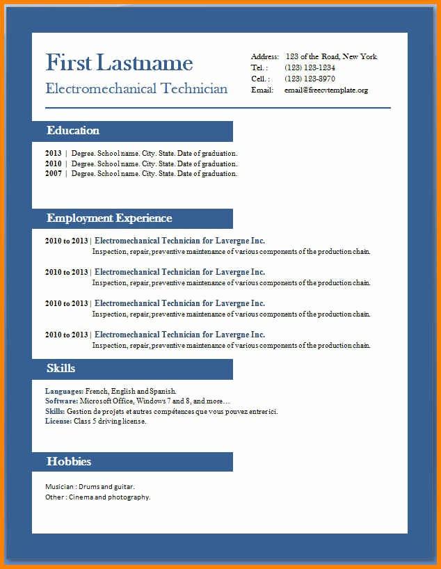 Resume Templates Microsoft Word 2010 Luxury 8 Cv Template Word 2010