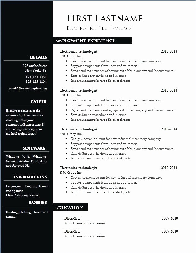 Resume Templates Microsoft Word 2010 Unique Curriculum Vitae Download In Ms Word