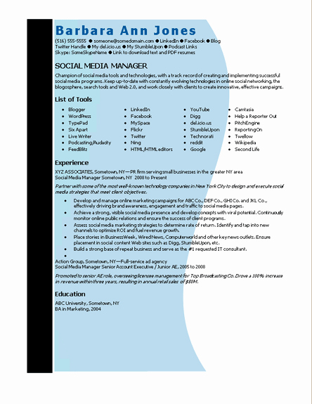 Resume Templates Microsoft Word 2010 Unique Microsoft Word social Media Manager Resume Template
