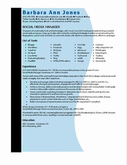 Resume Templates Microsoft Word 2010 Unique Microsoft Word social Media Manager Resume Template