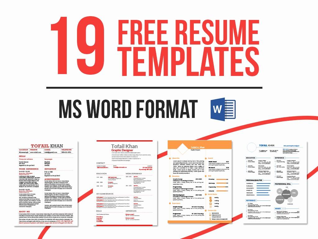 Resume Templates Microsoft Word Free Beautiful 19 Free Resume Templates Download now In Ms Word On Behance