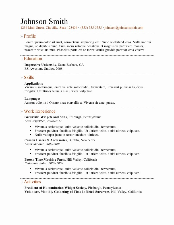 Resume Templates Microsoft Word Free New My Perfect Resume Templates