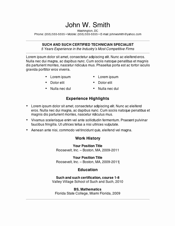 Resume Templates Microsoft Word Free Unique 7 Free Resume Templates
