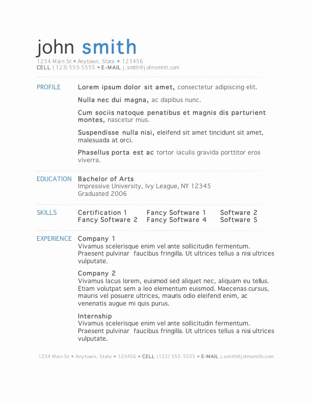 Resume Templates On Microsoft Word Lovely Resume Templates Free Download for Microsoft Word