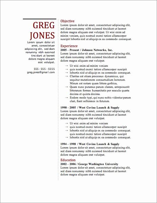 Resume Templates On Microsoft Word Unique 12 Resume Templates for Microsoft Word Free Download