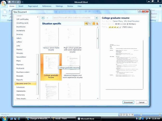 Resume Templates On Word 2007 Unique Resume Templates Microsoft Word 2007 How to Find