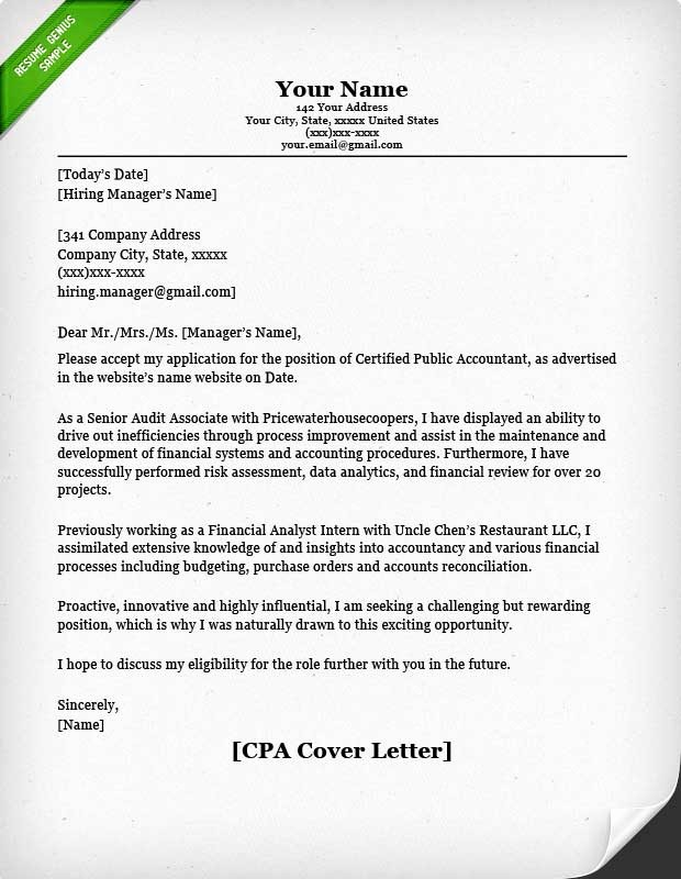 Resumes and Cover Letter Samples Unique Accounting & Finance Cover Letter Samples