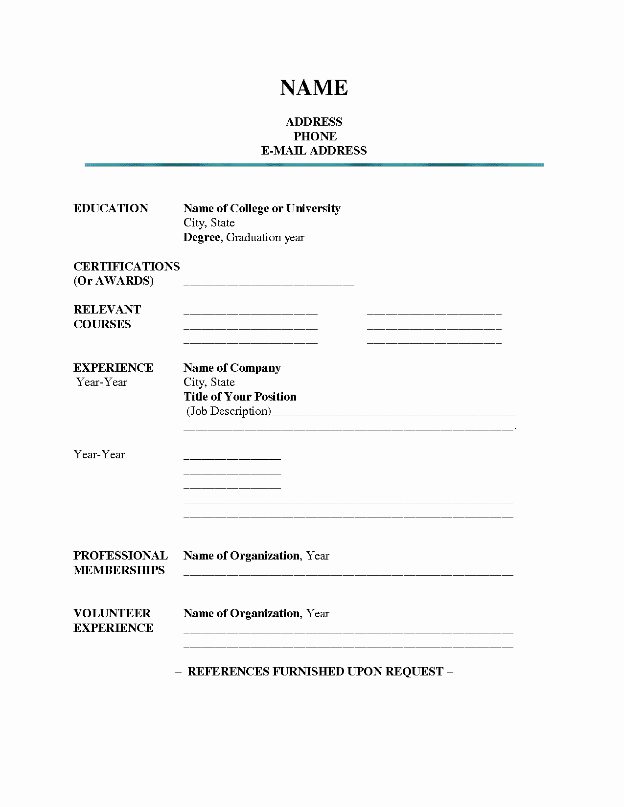 Resumes Fill In the Blanks Best Of Blank Resume Template