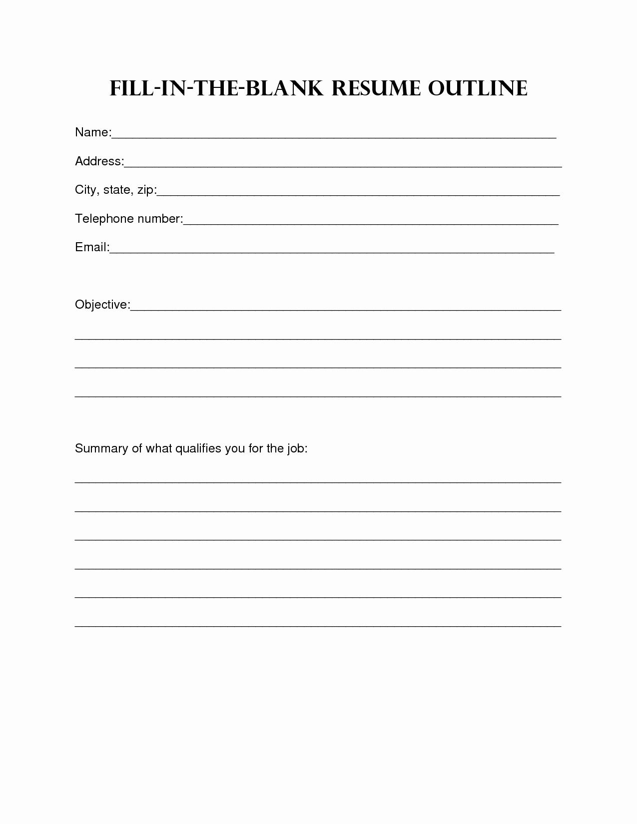 Resumes Fill In the Blanks Elegant 8 Best Of Printable Outline format Blank Essay