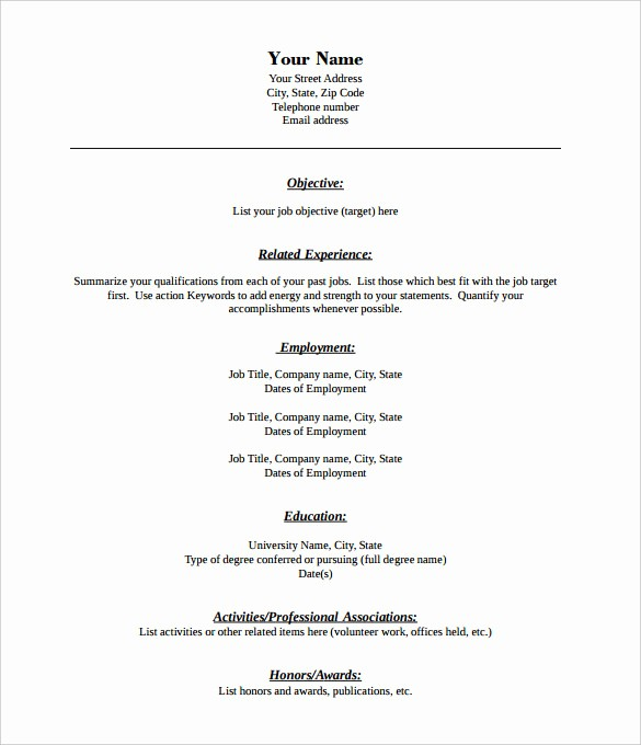 Resumes Fill In the Blanks Inspirational 46 Blank Resume Templates Doc Pdf