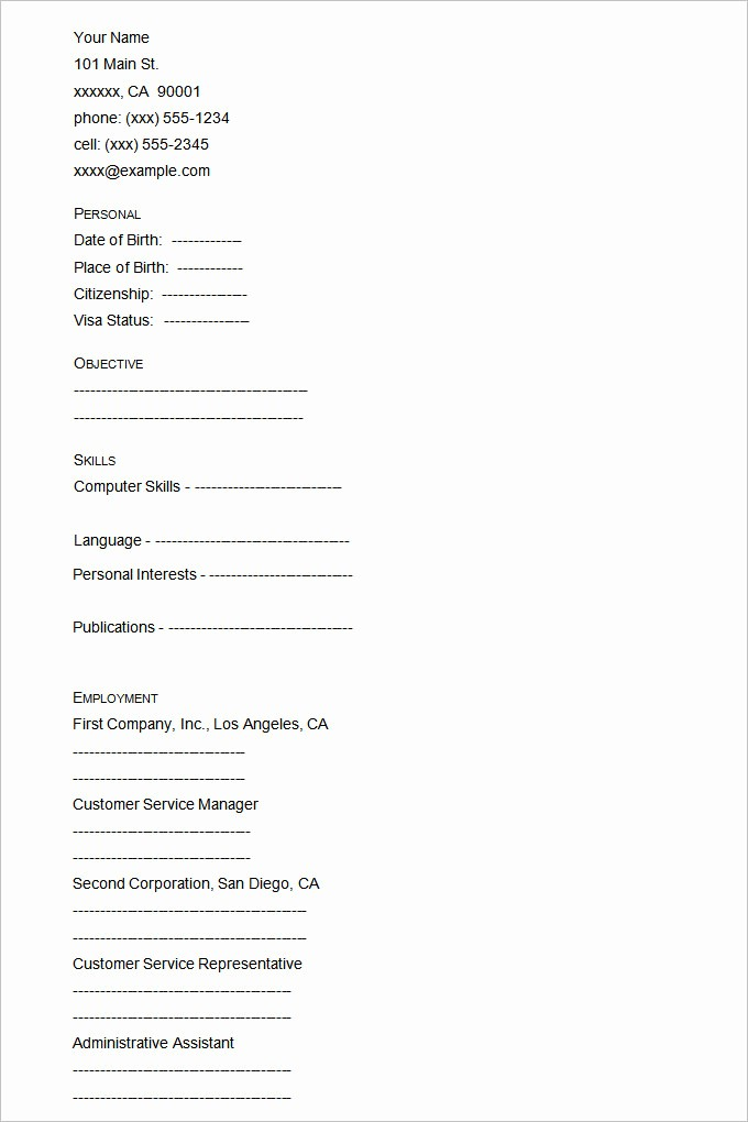 Resumes Fill In the Blanks Lovely 46 Blank Resume Templates Doc Pdf