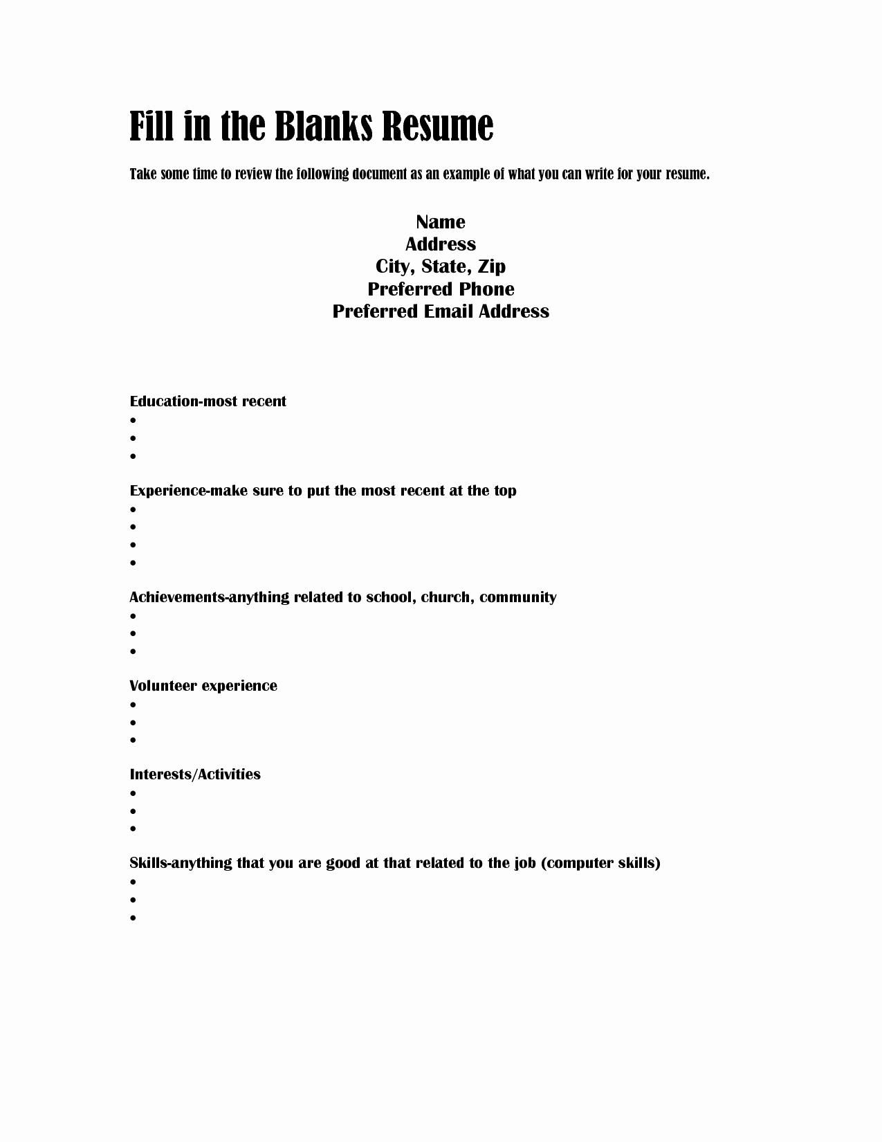 Resumes Fill In the Blanks Lovely Blank Resume Templates Mughals